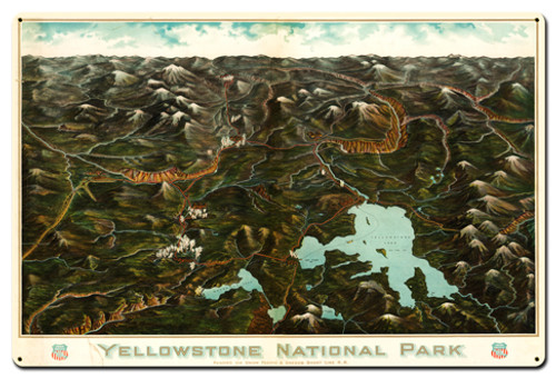Yellowstone National Metal Sign 36 x 24 Inches