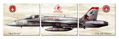 F-18 Hornet Metal Sign 48 x 14 Inches