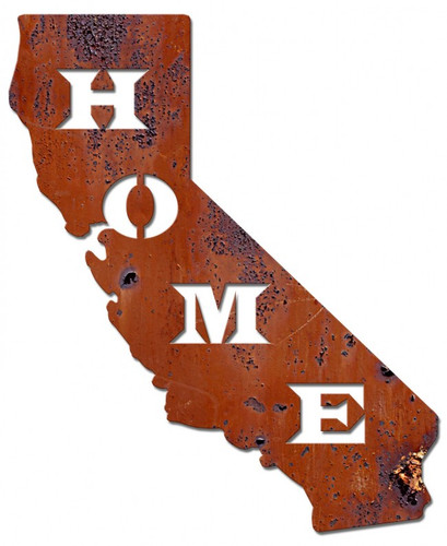 Home California Rust Metal Sign 16 x 20 Inches
