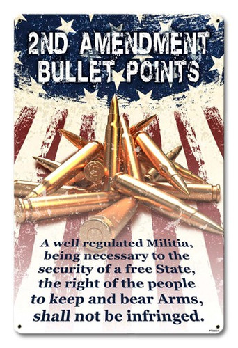 2nd Amendment Bullet Points Metal Sign 12 x 18 Inches
