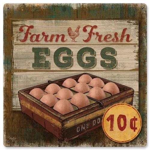 Farm Fresh Eggs Metal Sign 12 x 12 Inches