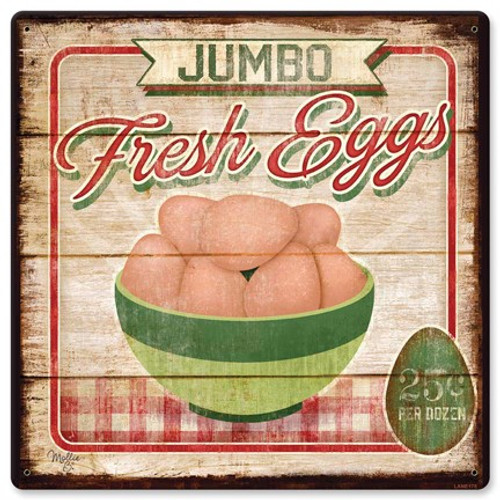 Jumbo Fresh Eggs Metal Sign 12 x 12 Inches