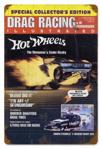 Vintage-Retro Drag Racing Cover Metal-Tin Sign