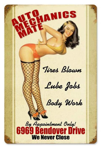 Vintage-Retro Auto Mechanics Mate - Pin-Up Girl Metal Sign -