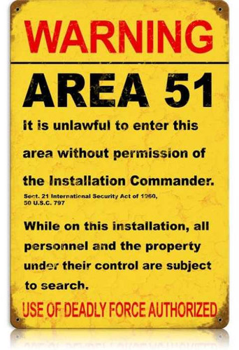 Vintage-Retro Area 51 Metal-Tin Sign LARGE