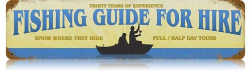 Vintage-Retro Fishing Guide Metal-Tin Sign
