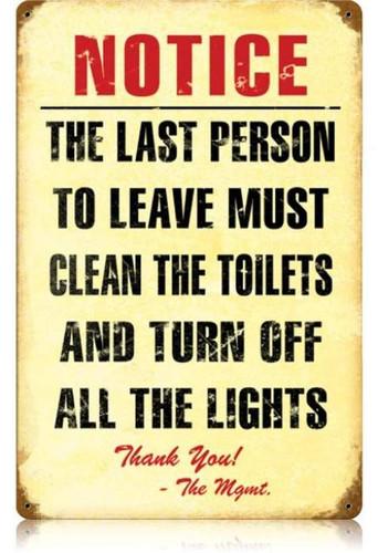 Vintage-Retro Clean Toilet Metal-Tin Sign