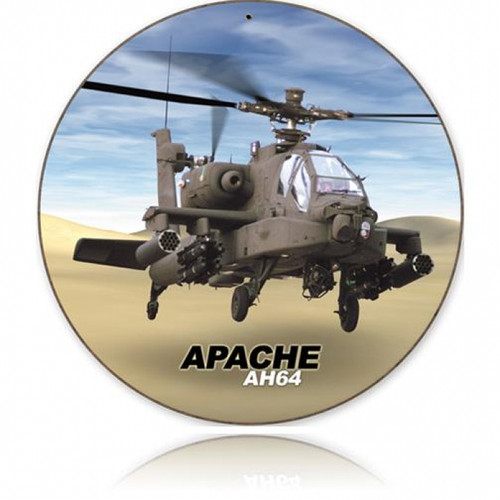 Vintage-Retro Apache Round Metal-Tin Sign