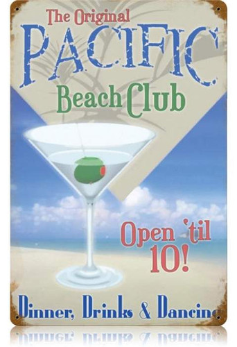 Vintage-Retro Pacific Beach Club Metal-Tin Sign LARGE