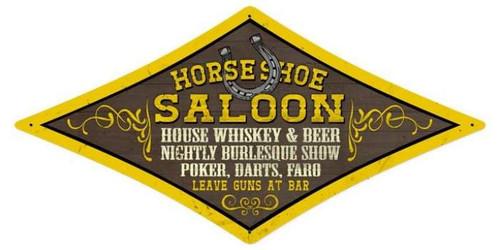 Vintage-Retro Horse Shoe Saloon Diamond Metal-Tin Sign