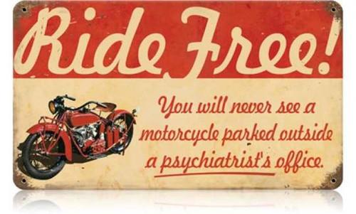 Vintage-Retro Ride Free Motorcycle Metal-Tin Sign