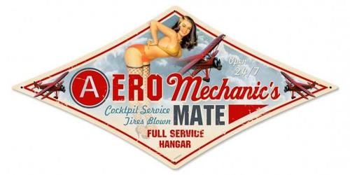 Vintage-Retro Aero Mechanic Diamond - Pin-Up Girl Metal Sign -