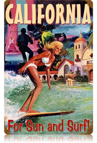 Vintage-Retro California Surfer Metal-Tin Sign
