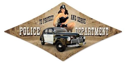 Vintage-Retro Police Department Diamond Metal-Tin Sign
