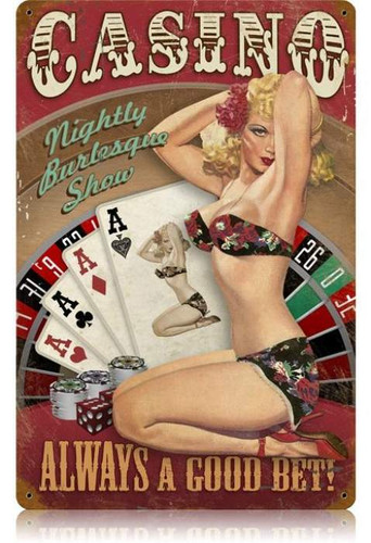 Vintage-Retro Casino Pinup - Pin-Up Girl Metal Sign -