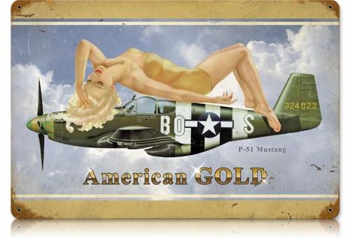 Vintage-Retro American Gold - Pin-Up Girl Metal Sign -
