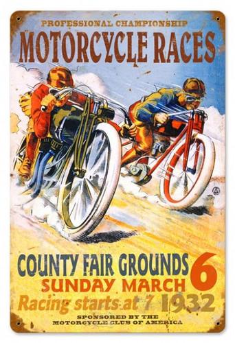Vintage-Retro Motorcycle Races Metal-Tin Sign 2