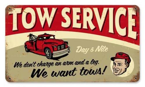 Vintage-Retro Tow Service Metal-Tin Sign