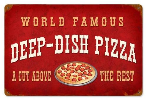 Vintage-Retro Deep Dish Pizza Metal-Tin Sign V953