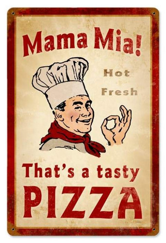 Vintage-Retro Mama Mia Pizza Metal-Tin Sign LARGE