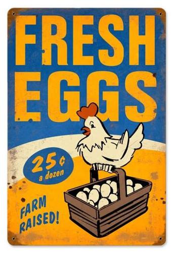 Vintage-Retro Fresh Eggs Metal-Tin Sign 3