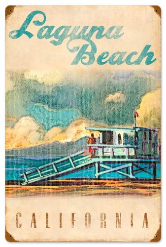 Vintage-Retro Lifeguard Tower Metal-Tin Sign