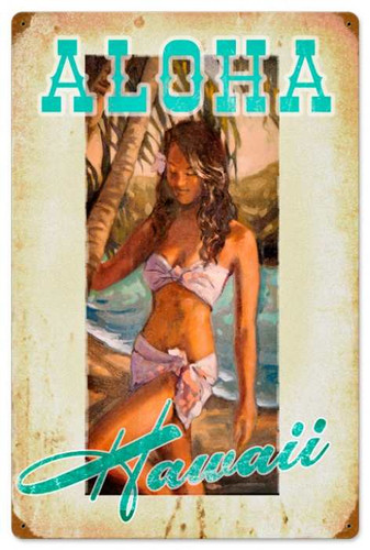 Vintage-Retro Aloha Hawaii - Pin-Up Girl Metal Sign -  LARGE