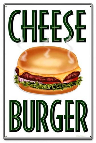 Vintage-Retro Cheese Burger Metal-Tin Sign LARGE