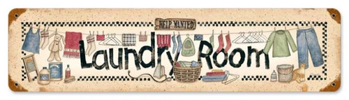 Vintage-Retro Laundry Help Wanted Metal-Tin Sign