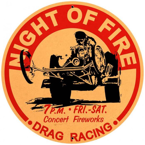 Vintage-Retro Night of Fire Metal-Tin Sign