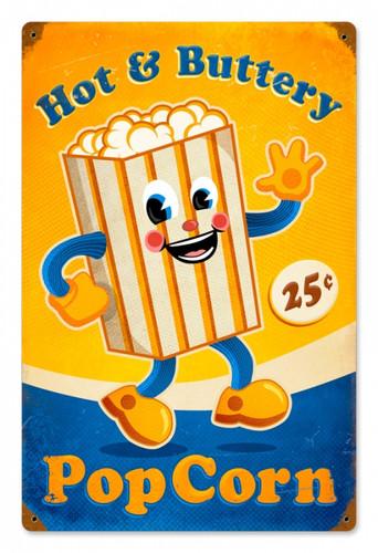 Vintage-Retro Popcorn Man Metal-Tin Sign