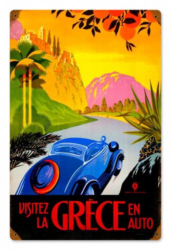Vintage-Retro Greece Auto Travel LARGE Metal-Tin Sign