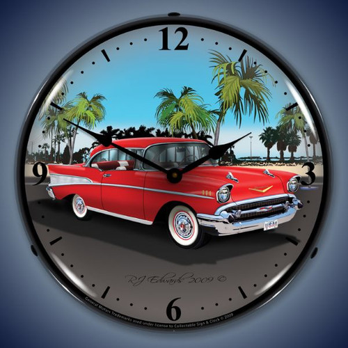 Vintage-Retro  1957 Chevy Lighted Wall Clock
