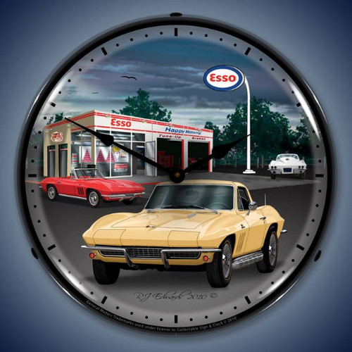 Vintage-Retro  1965 Corvette Lighted Wall Clock