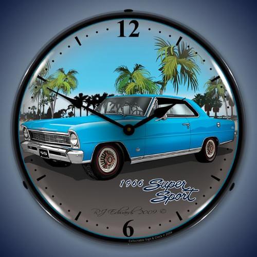 Vintage-Retro  1966 Nova (blue) Lighted Wall Clock