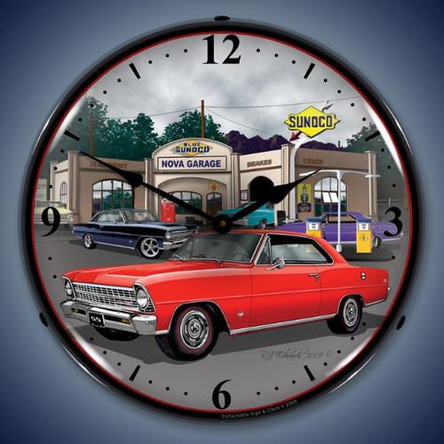 Vintage-Retro  1967 Nova (red) Lighted Wall Clock