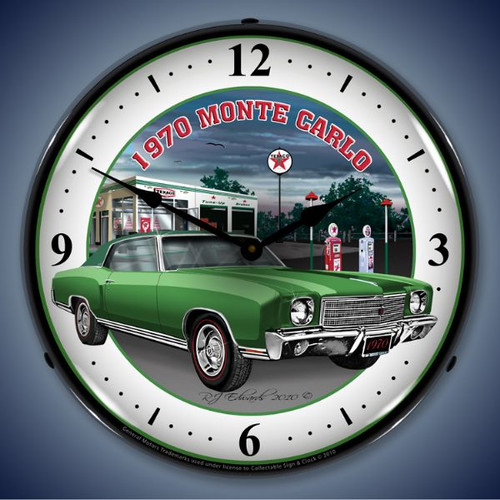 Vintage-Retro  1970 Monte Carlo Green Lighted Wall Clock