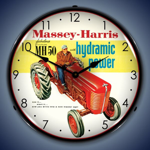 Vintage-Retro  Massey-Harris Lighted Wall Clock