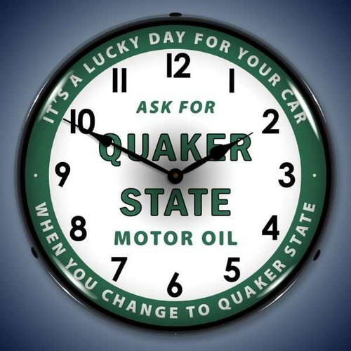 Vintage-Retro  Quaker State Oil Lighted Wall Clock