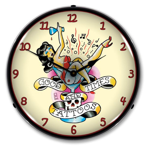 Tattoo Girl in Glass Lighted Wall Clock