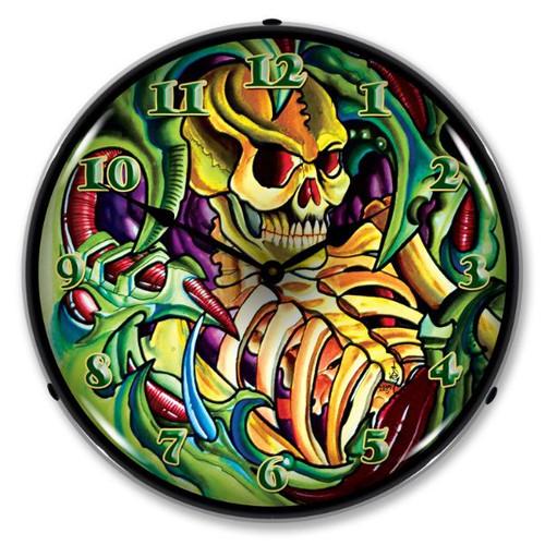 Tattoo Skull Lighted Wall Clock