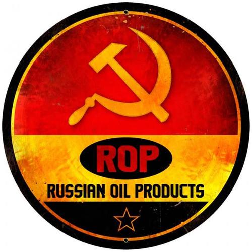 Vintage-Retro ROP Gasoline Tin-Metal Sign LARGE