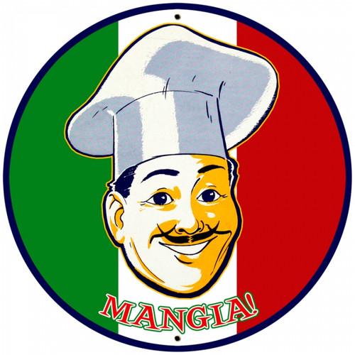 Vintage-Retro Mangia Tin-Metal Sign LARGE
