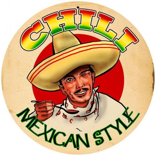 Vintage-Retro Chili Tin-Metal Sign LARGE