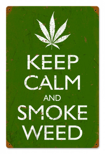 Vintage-Retro Keep Calm and Smoke Tin-Metal Sign