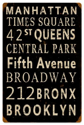 Vintage-Retro New York Streets Tin-Metal Sign