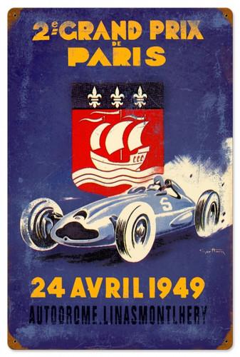 Vintage-Retro Paris Grand Prix Metal-Tin Sign 16 x 24 Inches