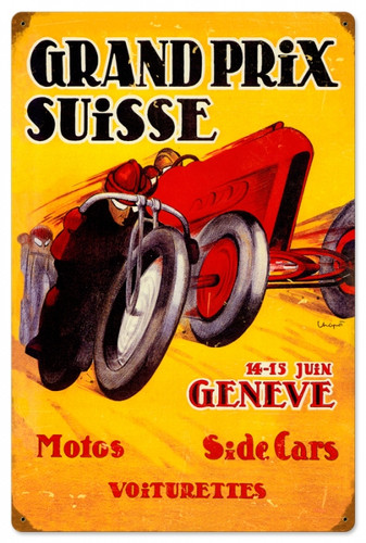 Vintage-Retro Swiss Grand Prix Metal-Tin Sign 16 x 24 Inches