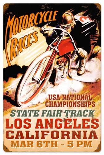 Vintage-Retro LA Motorcycle Races Metal-Tin Sign 16 x 24 Inches