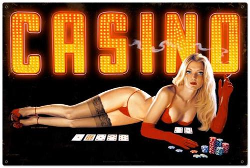 Vintage-Retro Red Light Casino Metal-Tin Sign LARGE